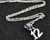Jersey Number Necklace - Silver Plated Charm on 18 inch silver rope chain