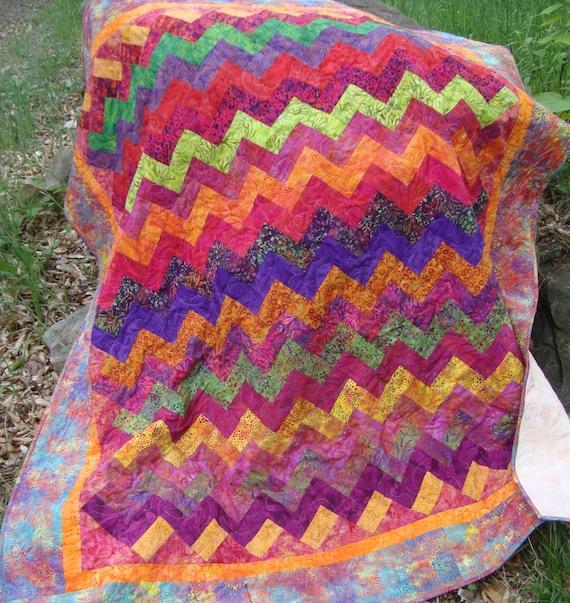 Lap Quilt Throw Bright Rainbow Batiks Zig Zag Chevron