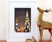Gold foil print. 'Golden Dawn' - abstract art print. Limited edition black and gold abstract geometric print by Erupt Prints. Gold foil art