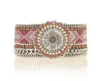SALE - Hand woven wide cuff bracelet - gift for her - bff gift - silver mandala - friendship bracelet statement cuff - gypsy jewelry