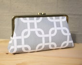 Gotcha (Gray & White) - 8 inches Bridesmaid Clutch - the Christine Style Clutch