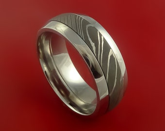Surgical Steel Stainless and Damascus Steel Band Custom Made Ring