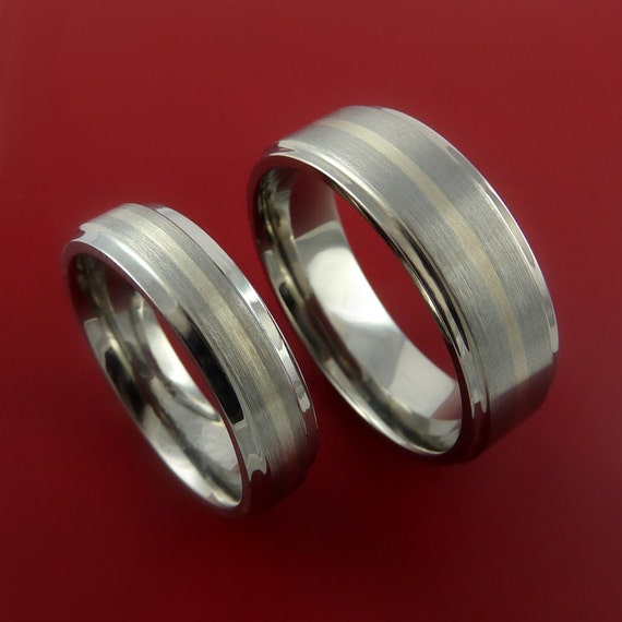 Titanium His and her Rings Classic Style with 14k White Gold Inlay Wedding Band Sizes 3-22