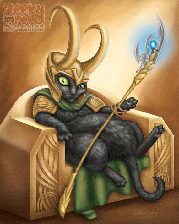 Loki Cat - 8x10 art print - Loki in Cat form sitting on his throne.