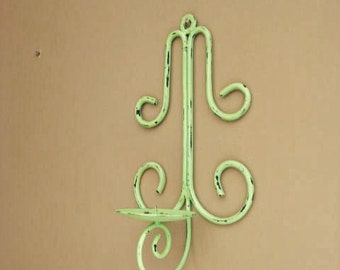 Rustic Metal Wall Sconce in Green Apple / Shabby Garden Candle Sconce / Cottage Chic Candle Holder