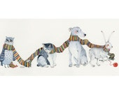 Animal Print Dog, Cat, Mouse, Owl and Hare in Knitted Scarf Print 8x11