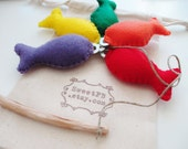 RESERVED Listing - Colorful Rainbow Fishing Set Game - Eco Friendly Felt Toys - Twig Fishing Rod - Set of EIGHT