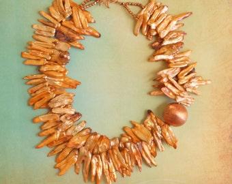 The Phoenix Fire Golden Orange Biwa Stick Pearls and Solid Copper Statement Necklace