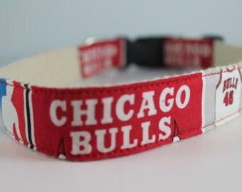 Chicago Bulls hemp dog collar or leash