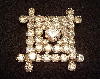HUGE Vintage Three Tiered Square Sparkling Rhinestone Brooch Pin