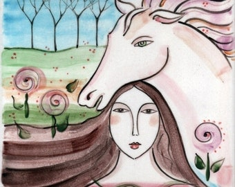Woman and White Horse Dream Painted Tile