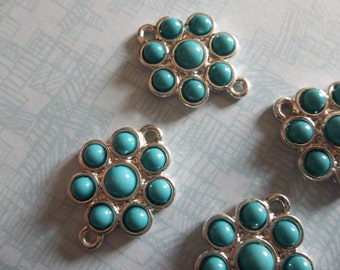 Jewelry Connectors - Silver & Turquoise Blue Flower Charms with 2 Loops - 14mm - 4 pieces