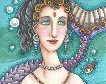 MERMAID Siren Portrait Illustration Original Fantasy Art Susan Brack EBSQ