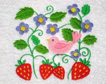 Bird And Strawberries Hand Towel
