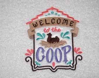 Welcome To The Coop Embroidered Hand Towel
