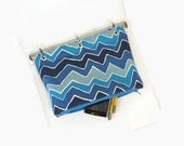 Binder Pencil Case Blue Organizer Pouch for 3 Ring Binder  Back to School  Ready to Ship School Supplies Kids Gift Chevron Waves
