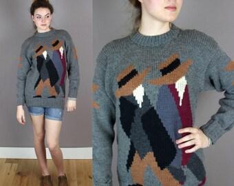 Vintage Hand-Knit Peruvian Sweater
