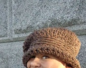 Hat, Crochet, Chunky, Slouch, Brim, Roll-Up, Fashion, Brown, Warm, Winter, Fall