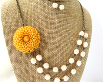 Yellow Bridesmaid Jewelry Set Beaded Flower Necklace Mustard Yellow Wedding Jewelry Double Strand Necklace