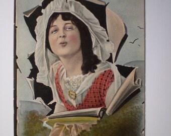 orig 1916 DO IT NOW Edwardian Bad Girl Romantic Postcard 1916