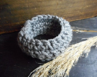 Gray Heather // Crocheted Handmade Boho Bangle Cuff Bracelet OSFA Rustic bohochic