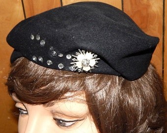 Ladies Vintage Black Hat, Jeweled Trim