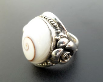 Custom Made Sterling Silver and Shiva Eye Shell Statement Ring - Handmade Spiral Shell Statement Ring - Big Size Ring