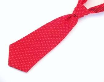 Baby / Toddler Tie - Red / White Pin Dot - Two Sizes: 0-2 years & 2-4 years