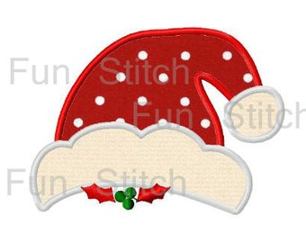 Christmas santa hat applique machine embroidery design