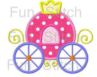 Princess carriage applique machine embroidery design