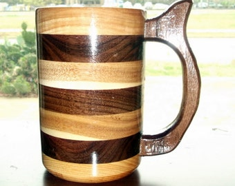 Handcrafted Wood Mug Hickory  Walnut Mix 20 oz , Wood Beer Mug, Beer Stein, Drinking Vessel, Stein, Wood Beer Tankard, Wood Beer Stein