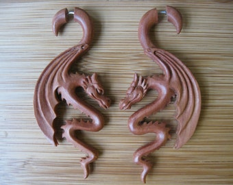 FAUX GUAGED Earrings! Vegan DRAGONS, Hand carved Wood, stylish, for regular piercings!