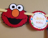 READY to SHIP Sesame Street Inspired. Just Born/0-12 mos Picture Hanging Banner. Elmo First Birthday Banner. Primary Colors. Red Polka Dots.