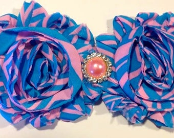 Shabby Chic Blue and Pink flower headband