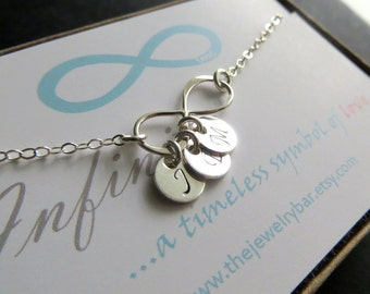 Infinity initial necklace, sterling silver infinity necklace, three hand stamped initial discs, dainty infinity jewelry, gift for her