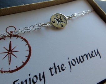 sterling silver Compass bracelet, graduation gift, compass jewelry