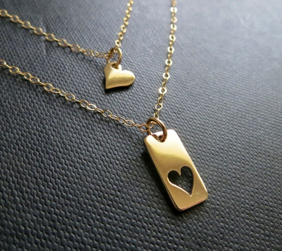 mother daughter necklace gold heart cutout necklace mother. Black Bedroom Furniture Sets. Home Design Ideas