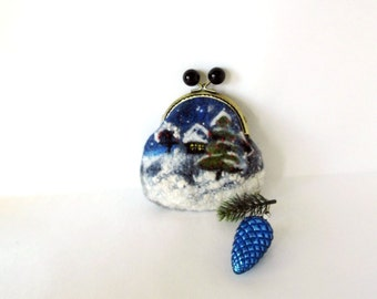 Wet Felted Winter night  coin purse Ready to Ship with bag frame metal closure Handmade gift for her under 50