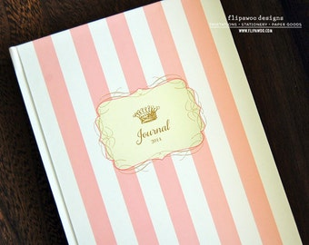 Personalized Hard Cover Journal with Crown and Striped Design. Wedding  or Shower Guestbook