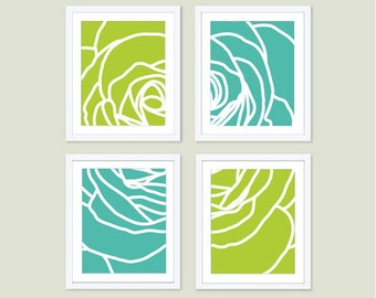Modern Rose Art Prints - Deconstructed Flower Wall Art - Aqua Mint Fresh Green - Spring Summer Decor