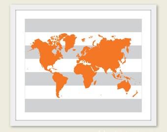 Nursery World Map Art Print - Baby Nursery Wall Art - Tangerine Orange and Grey Stripes - Modern Nursery Decor