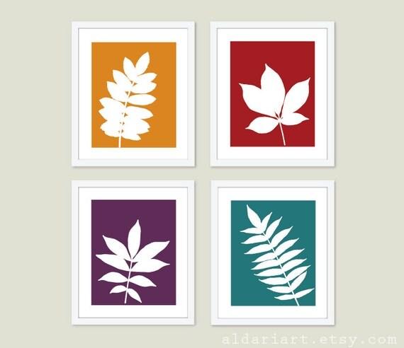Wall Art Red Leaves : Botanical simple leaves digital print set modern wall art