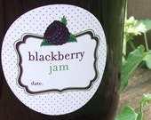 Blackberry Jam Canning Jar labels, 2 inch round stickers for fruit preservation, mason jar labels