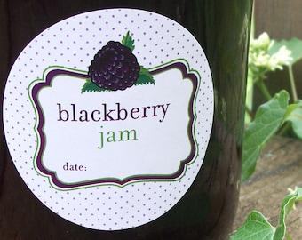 Blackberry Jam canning jar labels, round stickers for fruit preservation, regular & wide mouth mason jar labels, jam jar label