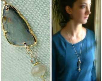 Gray Blue Fire Agate Necklace in 14K Gold Filled