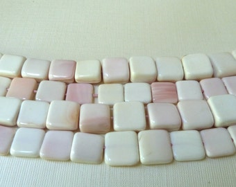 1/2 Strand Pink Shell Beads - 10mm to 12mm Square - Genuine Shell, Natural Color