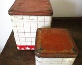 Set of Two Vintage Kitchen Cannisters / Tins / Red and Whited
