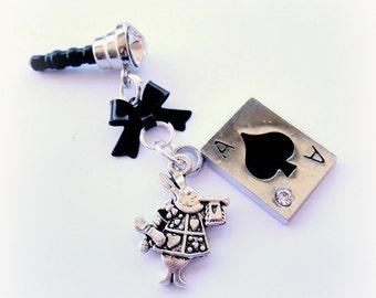 Wonderland rabbit iPhone charm, phone dust plug charm, fairytale accessory, smartphone