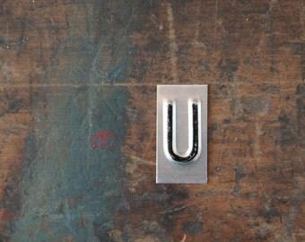 vintage industrial letter U / metal letters / letter art