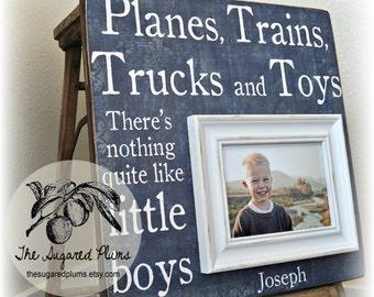 Baby Boy, First Birthday, Baby Gift, Personalized Baby Gift, Godson, Godchild, Baptism Gift, Planes, Trains, Trucks, Toys, Little Boys 16x16